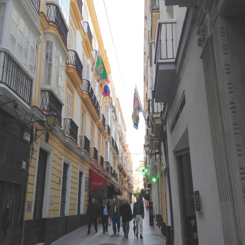 Calle San Francisco with hotel Las Cortes de Cadiz on left